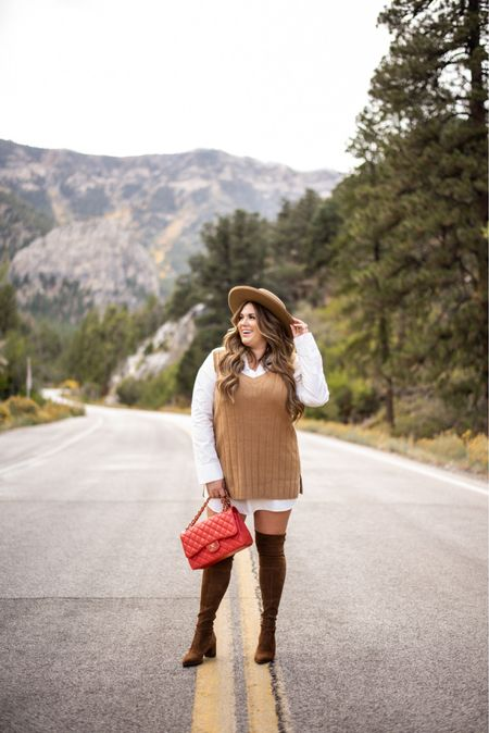 curvy fall style! wearing size xl in shirt dress and size large in sweater vest   #LTKSeasonal #LTKunder100 #LTKcurves
