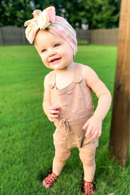 That sweet smile when you sing her the ABC's.  Go follow @tyednknots on Instagram to keep in the loop on a release date for this gorgeous mesh turban! Code BlakelyAnn15 will get you a discount on anything in the shop!   #toddlergirl #summerstyle #rompers #turbans #tyednknots  #LTKkids #LTKfamily #LTKbaby
