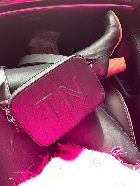 Monogram bag, monogram camera bag, leatherology, meadow camera bag, trapunto, personalized bag, Spanx leggings, Amazon boots, black booties, gifts for her   #LTKcurves #LTKitbag #LTKNewYear