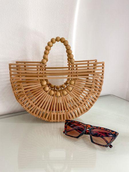 Summer bags Beach bags Bamboo bags Amazon finds  #LTKunder50 #LTKitbag #LTKtravel