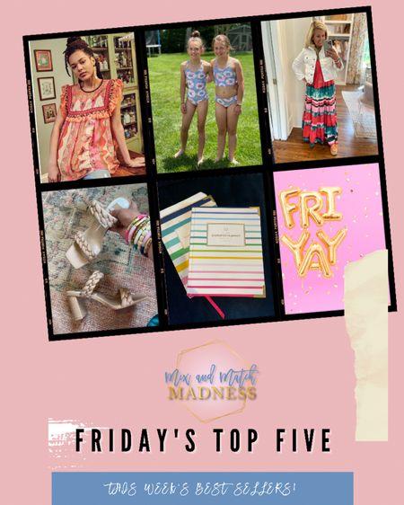 This weeks top 5 best sellers: fabulous top, tie dye swim wear, Good Hart denim jacket (contact me), most comfortable heels ever, and my go to calendar!  http://liketk.it/3fLmb #liketkit @liketoknow.it