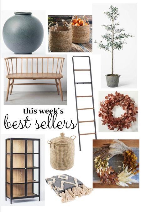 Best sellers this week! Modern farmhouse home decor and fall seasonal decor. Target finds vase wreath olive tree bench baskets hamper with lid black cabinet  #LTKhome #LTKSeasonal #LTKunder50