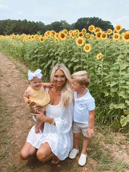 Sunflower Field with my babies in the softest little white sundress   #LTKkids #LTKbaby #LTKfamily