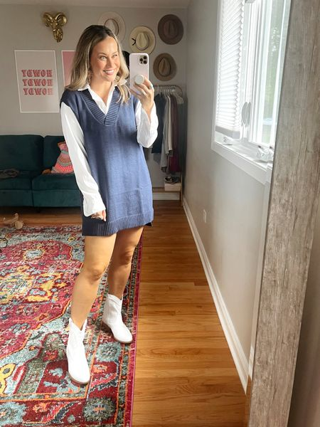 Amazon dresses for fall! I don't know I needed a sweater vest dress but I love this!! My white booties and white button down are also amazon finds!  #LTKunder50 #LTKstyletip #LTKshoecrush
