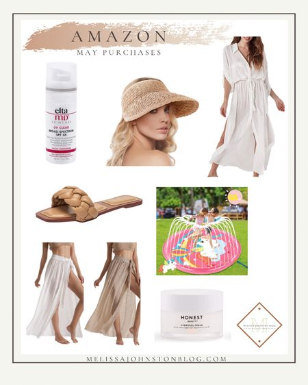 My Amazon purchases for May - this Elta MD sunscreen completely lives up to the hype!  And these swim coverups are perfect for summer.  I love the button up one because it's more like a dress.   #LTKSeasonal #LTKsalealert #LTKswim