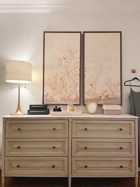 Bedroom Dresser styling, large artwork, home accessories #frontgate   #LTKhome
