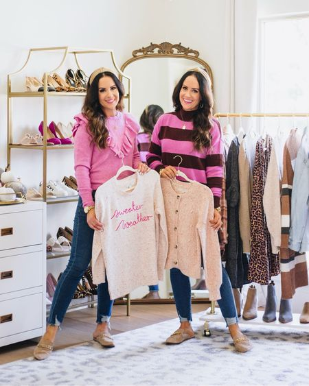 Pink ruffles or stripes - which new sweater is your favorite? 🥰 #ad We are so excited to share that @LOFT has just started their amazing 50% OFF Friends & Family promo! 🎉 It's the perfect time to stock up on sweaters, jeans, blouses and more! 🛍 Our new sweaters and jeans are all included in this fabulous 50% off sale! Head to our new post on TheDoubleTakeGirls.com to shop our outfits + how to get an extra 10% off your purchase. 👏 Make sure to check out our IG stories too for a try on of these chic + comfy fall ready looks along with some additional new arrivals. You can also shop everything shown by finding us in the LTK app or in our new blog post. We hope you all have a fabulous day! ❤️ #loftimist #loveloft  #LTKstyletip #LTKunder50 #LTKGiftGuide