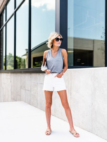 Free Assembly from Walmart has such great basics! LOVERLY GREY is wearing an extra small in the tank and a 2 in the white shorts http://liketk.it/3idDR #liketkit @liketoknow.it #LTKstyletip #LTKunder50 #LTKtravel