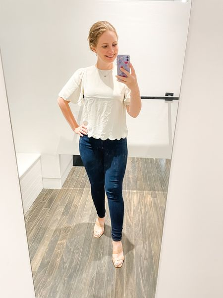 Express 40% everything sale! Wearing an XS in this scalloped hem top and a 2R in the jeans.  #LTKsalealert #LTKunder50 #LTKSeasonal