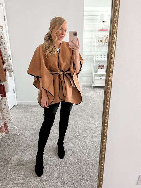 Belted poncho cape with black leggings and black OTK boots (tts)