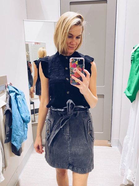 And just in case you don't have a black denim skirt, check out how cute this one is.  Wear with: anything! I loved this skirt so much! It's so darling! I'm wearing a size 2 in the skirt and xs in the top.  #target  #LTKstyletip #LTKunder50