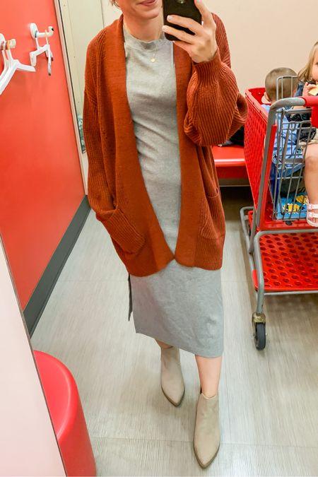 Target midi dress  with cardigan and booties. #fallstyle #targetstyle   #LTKstyletip #LTKunder50 #LTKsalealert