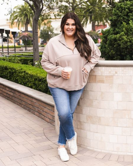 This best selling moto pullover is on major sale right now for 40% off! I'm only slightly salty I paid full price for mine 😖 I got the cocoa color and the grey, but it also comes in white and charcoal too! Seriously SO cozy - when you see me wearing mine multiple days in a row, just remember it costs $0 to mind ya business! 🤣   Outfit linked in my bio! Jeans are @shopcurvestocontour     #LTKunder50 #LTKcurves #LTKSale