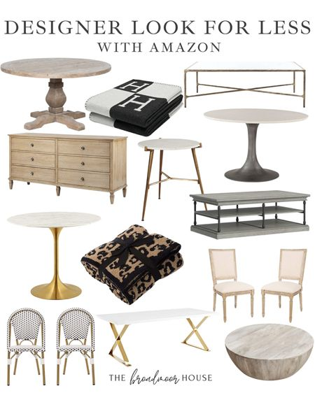 These pieces from Amazon look very similar to pieces from designer collection! Sometimes it's worth splurging on a piece but you should always make sure that there isn't a similar item for much less first!  Living room furniture, bedroom furniture, restoration hardware inspired, Hermes inspired Blanket, BLACK Decor, Modern Decor living room , The Restoration Target Dining Table, look for less, coffee table, marble furniture, French country, barefoot dreams inspired, Serena and Lily, pottery barn, brass furniture, gold furniture, brass hardware, neutral Decor, fall Decor  #LTKbeauty #LTKstyletip #LTKhome