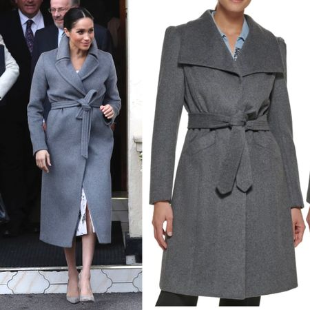Meghan inspired gray wrap coat #winter   #LTKstyletip