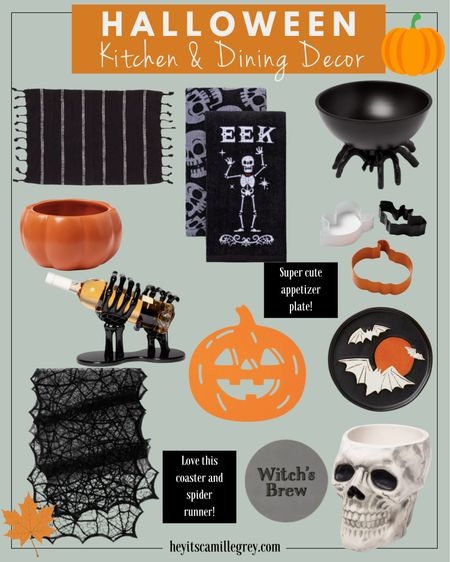Halloween Kitchen and Dining Decor Spider table runner, pumpkin and black placemats, witch's brew coaster, skeleton, pumpkin and spider candy dishes, halloween cookie cutters, bat appetizer plates, skeleton hand wine holder   #LTKSeasonal #LTKunder50 #LTKhome