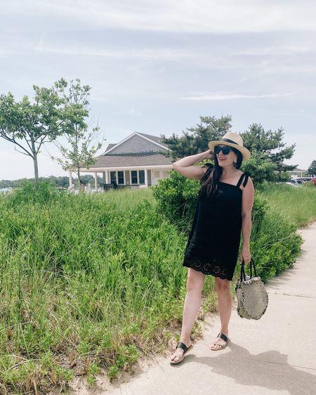 Beach outfit, sack dress, Panama hat, sandals, wicker bag, black beach dress, eyelet dress  http://liketk.it/3i9F2 #liketkit @liketoknow.it