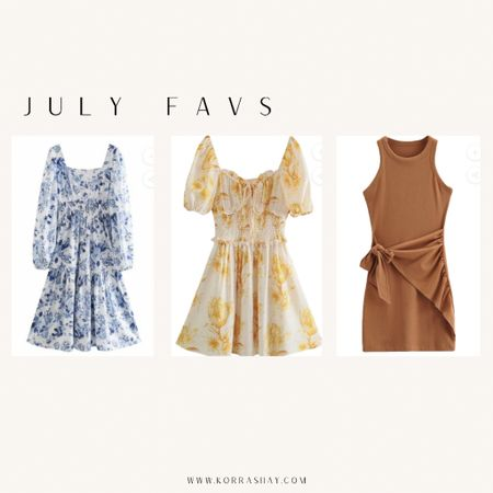 July favs! 3 super cute dresses for lots of different occasions. The blue floral dress would be amazing for a picnic date 💙 And styling the brown side tie waist dress is going to be amazing - imagine it with a denim jacket and white sneakers!   #LTKunder100 #LTKSeasonal #LTKstyletip