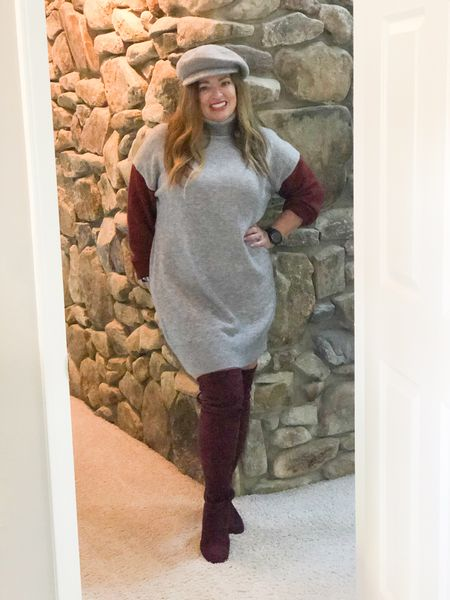 I absolutely love this casual contrasting sleeve sweater dress!  You could throw on a denim jacket and add platform sneakers.  Or you could do combat boots and a moto jacket..  Easy and comfortable   #LTKunder50 #LTKGiftGuide #LTKstyletip