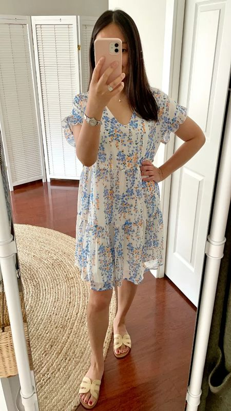 Size S is a loose fit on me. Fully lined and not too sheer. See my other post for styling ideas for this dress which is available in other colors and prints.   #LTKstyletip #LTKunder50 #LTKshoecrush