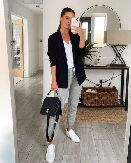 One of my favourite outfits from Sunday's YouTube video with my mum!  Sizes Joggers Xs  white tee s  black blazer 0 white sneakers (size up by half a size)   http://liketk.it/3iNQg #liketkit @liketoknow.it