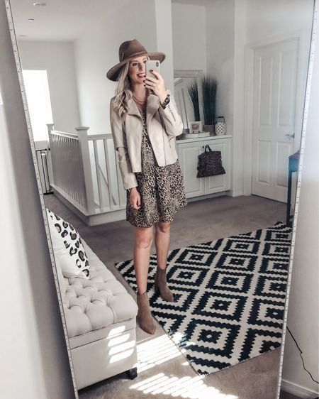 The perfect leopard dress for Fall ❤️ so good with this buttery soft moto jacket! Small dress  Med jacket    http://liketk.it/2Xsad @liketoknow.it #liketkit #LTKsalealert #LTKshoecrush #LTKstyletip