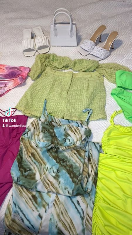 My bright wardrobe I packed for Miami! 🧳💚💖  Everything is from Amazon or Shein except for the Marc Fisher Heels!  #LTKtravel #LTKunder50 #LTKswim