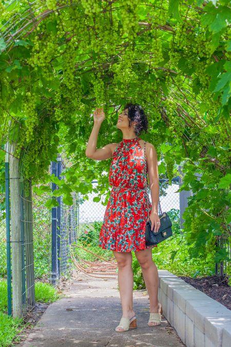 Red floral dresses black quilted purse   #LTKunder100 #LTKunder50 #LTKitbag