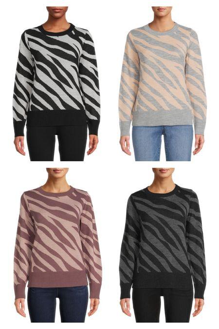 Zebra sweater from Walmart fashion- 6 color options    #LTKunder50 #LTKstyletip