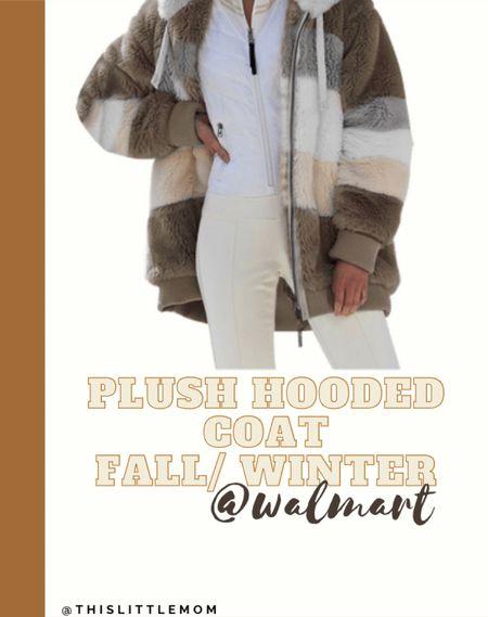 Cozy Plush Hooded Coat in different prints under $50 at @Walmart.   #LTKSeasonal #LTKstyletip #LTKunder50