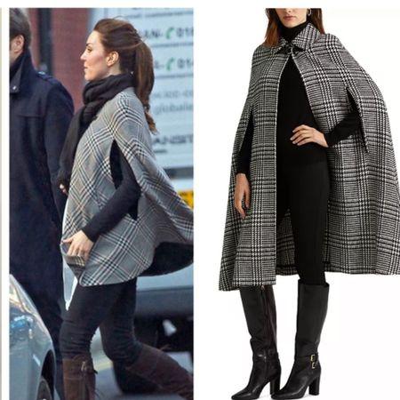 Get the look — Kate wearing Zara cape shop similar #plaid #shawl #coat #fall  #LTKeurope