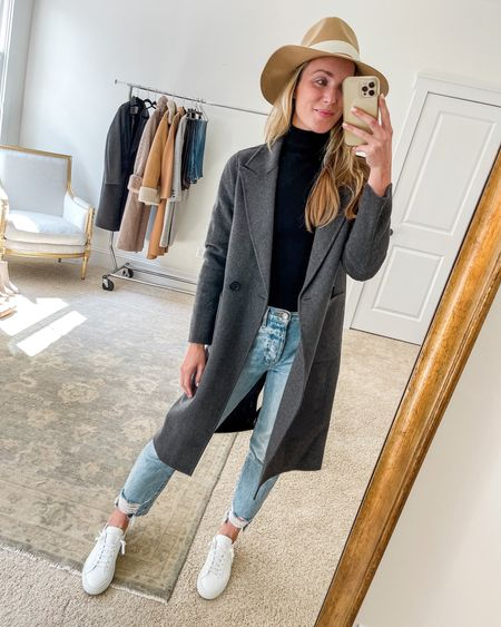 Size XS in coat, S in turtleneck, one size up in jeans, true size in sneakers. Similar, less expensive sneakers and hat linked as well!