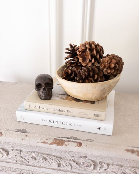 I'll be sharing more of our fall and halloween decor soon, but just pulled out this Etsy skull and had to reshare it. I don't like super spooky fall decor, but this is a fun, dark accent piece for a subtle nod to the holiday!