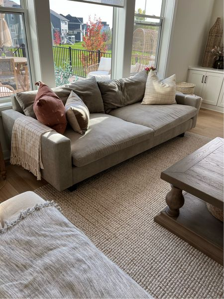 Living room, west elm sofa, deep sofa, living room couch, coffee table, living room rug, pottery barn, target home   #LTKhome #LTKHoliday #LTKfamily