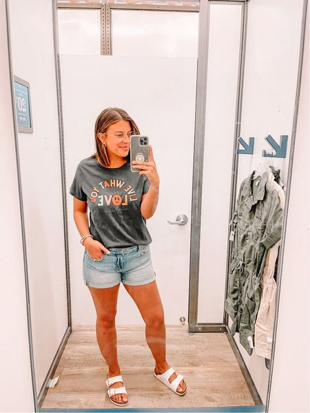Love this cute and inexpensive graphic tee with these comfy jean shorts.   #LTKshoecrush #LTKunder50 #LTKstyletip