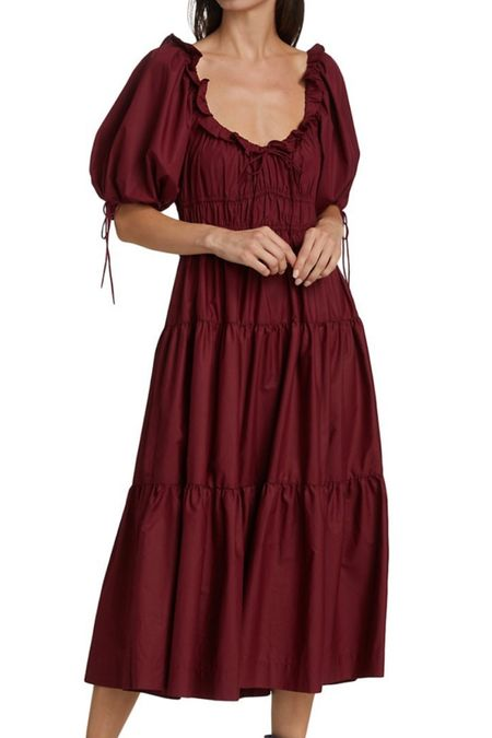 Pre-ordered the prettiest maroon midi dress that's perfect for any fall weddings or fall family photos! Wedding guest dresses, fall outfit  #LTKSeasonal #LTKwedding