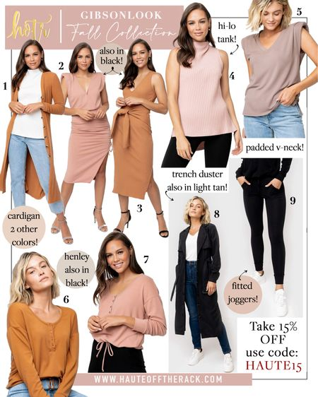 You can now shop my fall 2021 collection I designed with @gibsonlook that includes these 8 pieces & can be styled in endless ways!  Code: HAUTE15 for 15% OFF!  #fallfashion #falloutfit #paddedshouldertee #vnecktee #teeshirt #trenchjacket #trenchduster #henleytop #ribbeddress #mididress #cardigan #mocknecktop #leggings #highwaistedleggings #joggers #rucheddress   #LTKworkwear #LTKunder100 #LTKsalealert