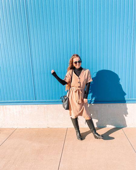 Dress is old from Roolee Target black turtleneck- size small, runs snug so I sized up Black riding boots from target- size 6.5, true to size Old navy black crossbody bag Eyebuydirect sunglasses  #liketkit http://liketk.it/39i9c @liketoknow.it #LTKunder50 #LTKshoecrush #LTKstyletip