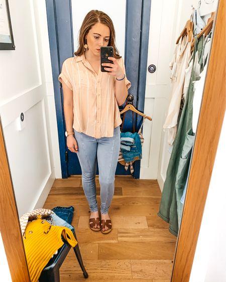 American Eagle sale try on http://liketk.it/2BKSI  @liketoknow.it #liketkit #LTKitbag #LTKsalealert #LTKshoecrush #LTKspring #LTKstyletip #LTKunder50 #LTKunder100 American eagle distressed jeans tie front top spring outfit spring sandals colorful top rainbow stripes sunglasses straw round bag rattan bag
