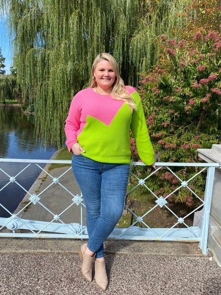 Victor Grimaud x Target Designer collection neon sweater. Fits true to size. Available in sizes XXS-2x. Jeans are high rise and are stretchy. Size down if between sizes. Booties fit true to size. Fall foliage outfit. Boston Common, Boston Public Garden.    #LTKcurves #LTKtravel #LTKSeasonal