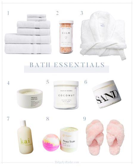 Bath essentials: Soft and durable bath towels, calming bath salts, plush terry cloth robe, bath bombs, & more!   #LTKbeauty #LTKhome