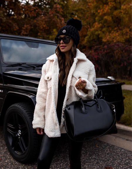 Casual fall outfit ideas  Marc Fisher shearling boots run TTS Moncler beanie  Commando faux leather leggings wearing an XS Nordstrom shearling jacket wearing an XS Givenchy Antigona bag  #LTKSeasonal #LTKstyletip #LTKunder100
