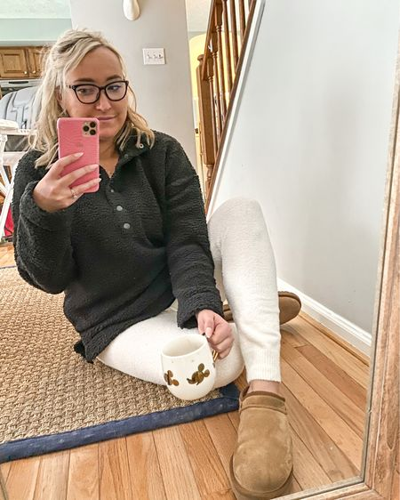 """If it's going to keep snowing, I'm going to keep buying cozy clothes ❄️ My American Eagle/ aerie order got here just in time for today's snow day. Both these cozy knit leggings and sherpa pullover are on clearance right now and come in a bunch of different colors. They also happen to be the most comfy lounge pieces ever so that works out very nicely.   A few months ago I moved all of my """"work clothes"""" into storage in our basement. Will I ever wear dress pants again? Will I ever wear heels again?! I'm definitely not complaining (ugg boot life is the life for me right now), but anyone else confused at what to do with their clothes from prepandemic life?  . . . . . . . .  http://liketk.it/38GDT @liketoknow.it #liketkit #StayHomeWithLTK #LTKsalealert"""