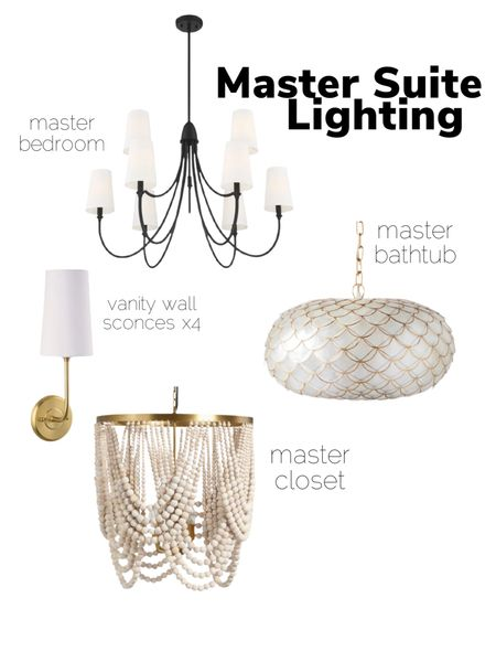 Master bedroom chandelier, primary suite lighting, bathtub chandelier, wall sconce, brass lighting, brass wall sconce, Serena and lily, shaded chandelier, beaded chandelier, capiz   #LTKhome #LTKsalealert