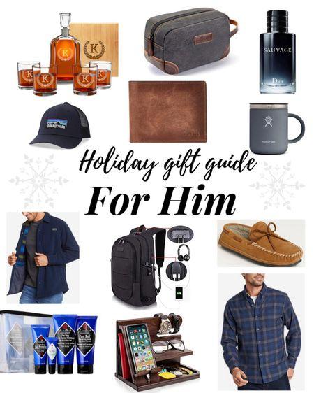 Holiday Gift Guide For Him ❤️ . . .  http://liketk.it/32CG0 #liketkit @liketoknow.it #LTKsalealert #LTKunder50 #LTKunder100 gift guide, holiday gift guide, gift guide for him, men flannel, men shacket, men hat, hat, cologne, Christmas gift ideas, Amazon find, Amazon, Nordstrom, men wallet, men toiletry bag, book bag, men book bag, men clothes, men gift ideas, men skincare set, men coffee mug, men phone charging station, whiskey decanter set, men's slippers, Christmas, gift guide, Black Friday, Black Friday sale, cyber Monday, cyber Monday sale, men's gift guide, gifts for him, stocking stuffers