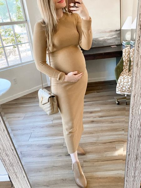 Nordstrom anniversary sale. Maternity fashion. Nsale sweater dress still in stock! Sized up to a medium to wear all pregnancy. Super soft, flattering and stretchy material. Boots tts, but size up if between sizes.  Follow my shop on the @shop.LTK app to shop this post and get my exclusive app-only content!  #liketkit #LTKbump #LTKsalealert #LTKstyletip @shop.ltk http://liketk.it/3kB5R