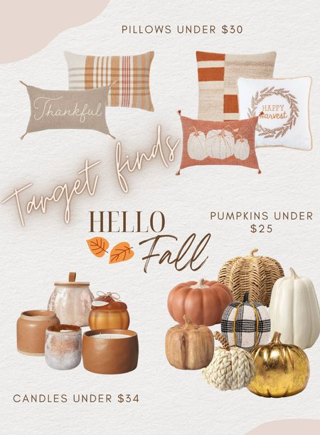 Fall Target home decor finds🙌🏼 pillows, candles and decorative pumpkins galore!!!   #LTKHoliday #LTKSeasonal #LTKhome