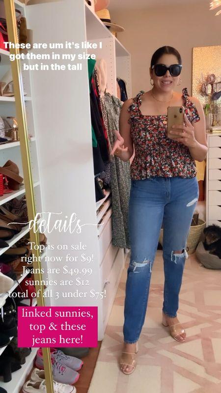 floral tie sleeve top, floral stretchy top, mom jeans  #LTKsalealert #LTKunder50 #LTKSale