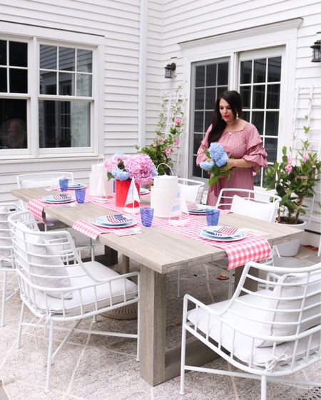 Memorial barbecue, memorial weekend, memorial outfit, memorial table set up, patriotic outfit, plaid red dress, blue and red table spread, American flag  http://liketk.it/3gmzh #liketkit @liketoknow.it #LTKhome @liketoknow.it.home