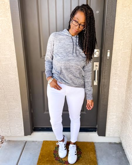 #ootd I am loving this hoodie from L.L.Bean. Pairs perfect with white jeans and classic Adidas   #LTKshoecrush #LTKunder50